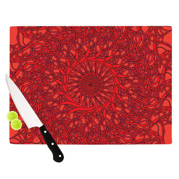 "Patternmuse ""Mandala Spin Romance"" Red Geometric Cutting Board"