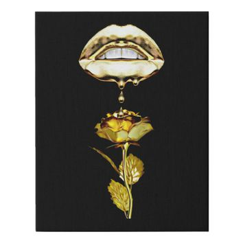 Lips Dripping Liquid gold on Rose Art Faux Canvas Print