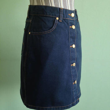 Button Down Skirt, Navy Blue Denim Skirt, Hunter Casual Heavy Cotton Jeans Skirt, Vintage 90s A Line Above The Knee Short Skirt, Size M