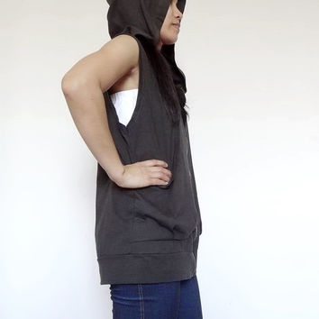 SALE Hoodie Sleeveless, Zip up Design Jacket, Cotton Jersey in Charcoal Grey.
