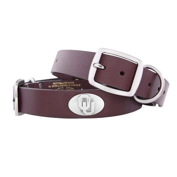 Zep-Pro Oklahoma Sooners Concho Leather Dog Collar - L (Okl Team)