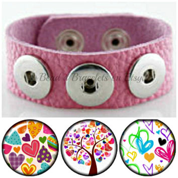 Valentine Heart snap charm bracelet and 3 x 20 mm heart charm chunk charms compatible with Noosa and Gingersnap jewelry.