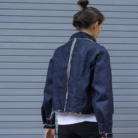 DISTRESSED DENIM jacket - handmade dark blue women's jacket - cropped jacket with fringe - waxed edges - hidden pockets - M to XL