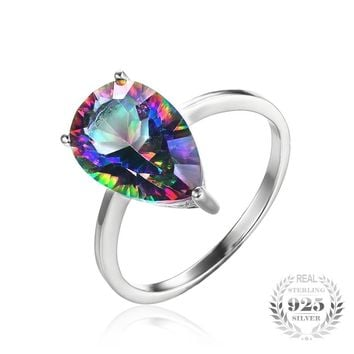 3ct Rainbow Fire Mystic Topas Rings Pear Concave Cut Brand New Hot Sale Solid 925 Sterling Silver Vintage Jewelry