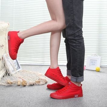 2016 spring new Star couple shoes men&women baskets sport red shoes Unisex British style running canvas shoes all size 35-43