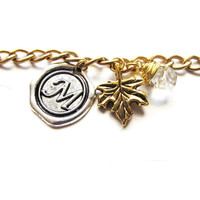 Monogrammed Charm Leaf Swarovski Bracelet Wax Seal Antique Silver Letter of your choice