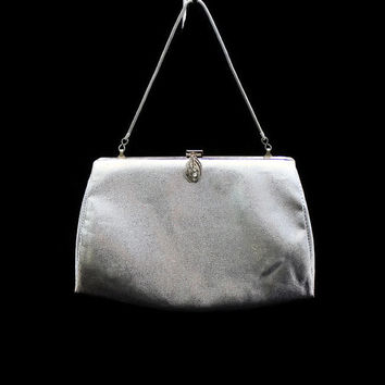 Vintage Silver Handbag Silver Clutch  Silver Purse Silver Evening Bag Bridal Handbag Bridal Bag