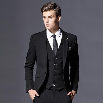 Men's 3 Piece Single Breasted Formal Fashion Suit