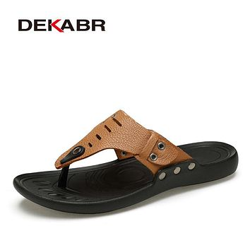DEKABR 2017 Brand Casual Men Sandals Slippers Summer Fashion Beach Men Casual Shoes Genuine Leather Flip Flops Big Size 35-47
