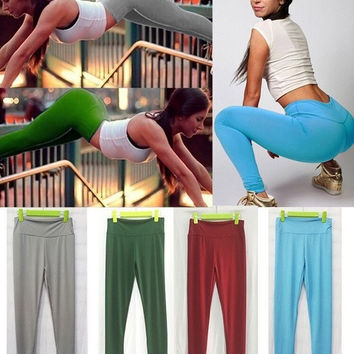 Matte stretch leggings treadmill spot leggings yoga pants female candy color = 1933152708