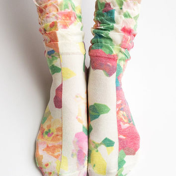 Women Lady New Hezwagarcia High Quality Japanese Flower Print Cotton Ruffle Frill Elegant Classic Printing Ankle Socks