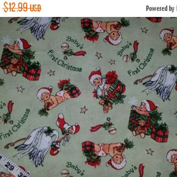 Baby's First Christmas fabric retro stork presents cotton print quilt sewing material to sew by the yard crafting quilter sewers BTY