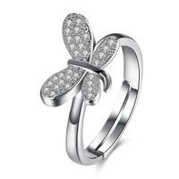 Wedding Jewelry Ring Silver Butterfly Zircon Adjustable Women Ring Gift