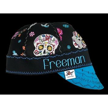 Sugar Skull Print Custom Embroidered Hybrid Welding Cap