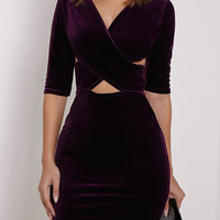 Purple Velvet Cross Front Cut Out Half Sleeve Bodycon Dress