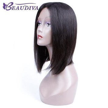 Beaudiva Pre Colored Human Hair Wigs Short Straight Brazilian Virgin Hair Straight Natural Color For Black Women 12inch