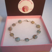 Amazonite Coin Bracelet-  Sterling Silver- Wire Wrapped Stone Bracelet- Blue and Brown- Gift Idea