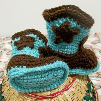 Cowboy Boots-Turquoise and Brown-Crochet-Baby Shower gift--Baby Shower Gift-#124