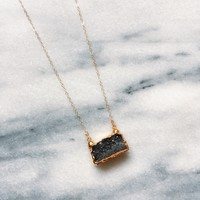 Raw Black Druzy necklace