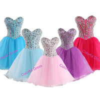 2014 summer sweetheart Rhinestones Empire Waist Organza  Mini-Length Cocktail dresses/prom dress/homecoming dress A114