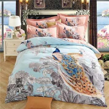 Cool Svetanya Peacock Sheet Pillowcases & Quilt cover Sets 100% Sanded Cotton Queen Full King Size Bed LinensAT_93_12