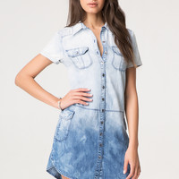 bebe Womens Ombre Denim Shirtdress Ombre Wash