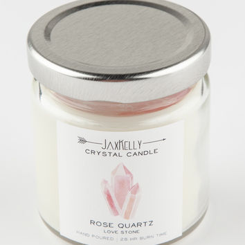 JAXKELLY Rose Quartz Crystal Candle | Decor