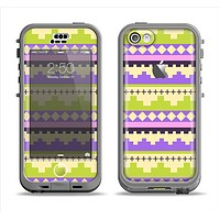 The Purple & Green Tribal Ethic Geometric Pattern Apple iPhone 5c LifeProof Nuud Case Skin Set
