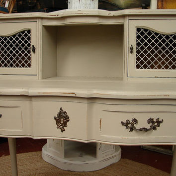 Reclaimed French Provential Paris Mud Putty Painted Secretary Writing Desk Dressing Table Vanity Credenza Cabinet  (CALL for a SHIP Quote)