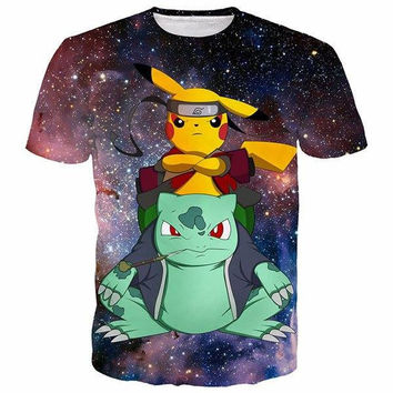 Pikachu And Squirtle As Naruto 3D Shirts