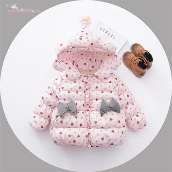 Winter Baby Infants Girls Down-Cotton Kids Hooded Bow Heart Flower Princess Snow Wear Jacket Outwear Parkas Coat Casaco S5997