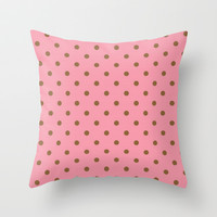 Pink And Brown Polka Dots Throw Pillow by Colorful Art