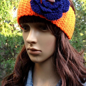 Crochet Earwarmer, Denver Bronco Inspired, Chicago Bears Inspired, Crochet Headband, Football Earwarmer, Football Headband, Navy and Orange