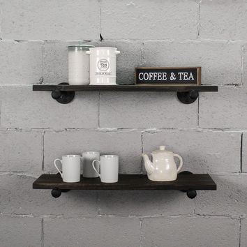 Honolulu 2-Piece Industrial Farmhouse Shelf Set
