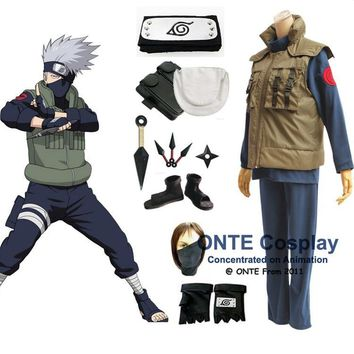 Naruto Sasauke ninja Anime  Cosplay Costumes Shippuden Hatake Kakashi Deluxe Clothes Set with Shoes  for Halloween Party AT_81_8