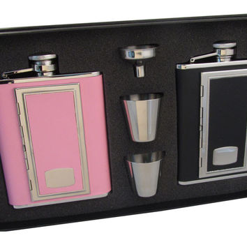 Visol SP Black & SP Pink His & Her 6oz Hip Flask Gift Set