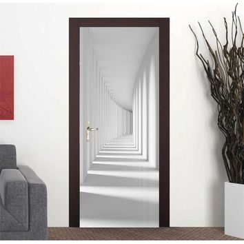 Door Wallpaper White Channel Corridor Mural Wallpaper Background Wall Painting Living Room Bedroom Sticker Self Adhesive