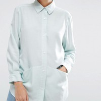 ASOS Oversized Twill Shirt with Pocket Detail at asos.com