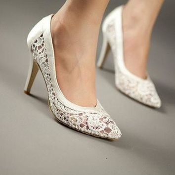 CREYUG3 cutout satin fabric high heel sexy lace wedding shoes shallow mouth pointed toe genuine leather bride pumps = 1930010820