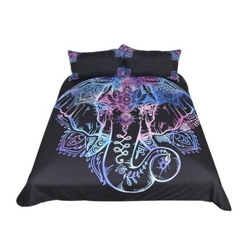 Black & Blue Elephant Bedding Set