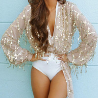 Golden Sequined V-neck Tie Front Crop Blouse