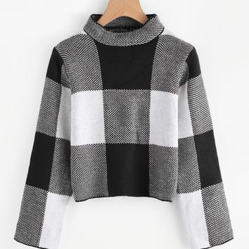 Women's Funnel Neck Plaid Sweater