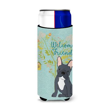 Welcome Friends Black French Bulldog Michelob Ultra Hugger for slim cans BB7632MUK
