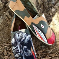 Camouflage hand painted men's Tom shoes
