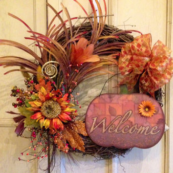 Fall Grapevine Wreath, Fall Welcome Grapevine Wreath, Fall Grapevine Burlap Wreath, Fall Floral Wreath, Pumpkin Wreath, Holiday Wreath