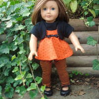 American Girl Doll Clothes, Leggings, Shirt, Camisole and Shrug, Orange and Black, fits 18 Inch Dolls Fall, Halloween Ensemble