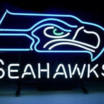 Custom NEON SIGN board For Football LED Seattle Seahawks REAL GLASS Tube Signage BEER BAR PUB Club Shop Light Signs17*14""