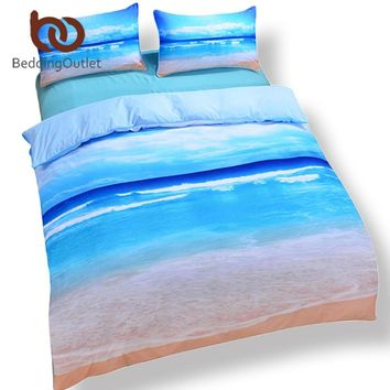 BeddingOutlet Dropship Beach Ocean Home Textiles Hot 3D Print Duvet Cover with Pillowcase Bedding Set Queen King Home Bedclothes