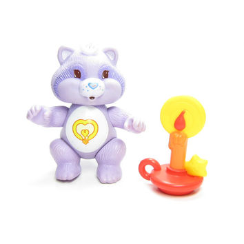 Bright Heart Raccoon Care Bears Cousins Poseable Vintage Toy Figurine Purple with Candle