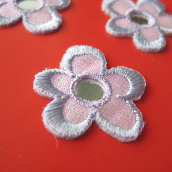 6 pcs Iron-on Embroidered Applique Purple Flower 0.9 inch